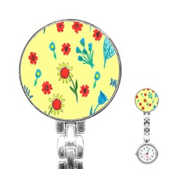 Flowers Fabric Design Stainless Steel Nurses Watch