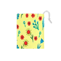 Flowers Fabric Design Drawstring Pouches (Small)