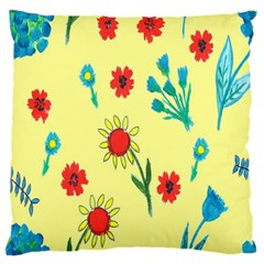 Flowers Fabric Design Large Flano Cushion Case (two Sides)