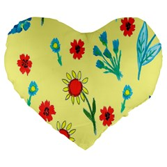 Flowers Fabric Design Large 19  Premium Flano Heart Shape Cushions