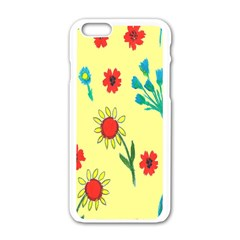 Flowers Fabric Design Apple iPhone 6/6S White Enamel Case