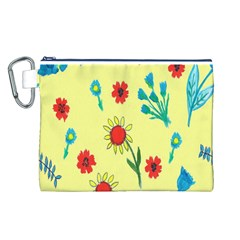 Flowers Fabric Design Canvas Cosmetic Bag (l)