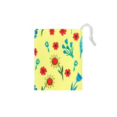 Flowers Fabric Design Drawstring Pouches (xs)