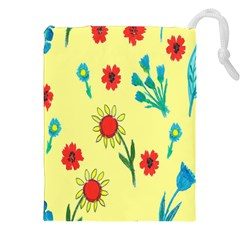 Flowers Fabric Design Drawstring Pouches (XXL)