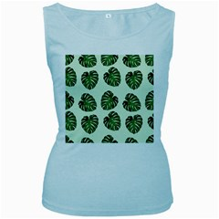 Leaf Pattern Seamless Background Women s Baby Blue Tank Top