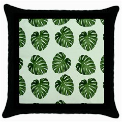 Leaf Pattern Seamless Background Throw Pillow Case (black)