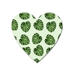 Leaf Pattern Seamless Background Heart Magnet