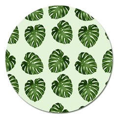 Leaf Pattern Seamless Background Magnet 5  (Round)