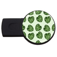 Leaf Pattern Seamless Background Usb Flash Drive Round (2 Gb)