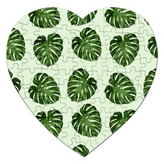 Leaf Pattern Seamless Background Jigsaw Puzzle (Heart)