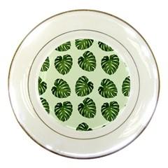 Leaf Pattern Seamless Background Porcelain Plates