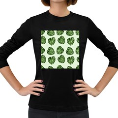 Leaf Pattern Seamless Background Women s Long Sleeve Dark T-Shirts