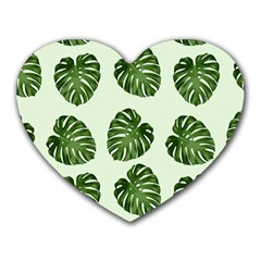 Leaf Pattern Seamless Background Heart Mousepads