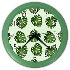 Leaf Pattern Seamless Background Color Wall Clocks