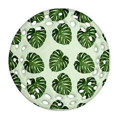 Leaf Pattern Seamless Background Round Filigree Ornament (two Sides)