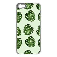 Leaf Pattern Seamless Background Apple iPhone 5 Case (Silver)