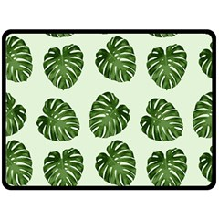 Leaf Pattern Seamless Background Double Sided Fleece Blanket (Large)