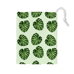 Leaf Pattern Seamless Background Drawstring Pouches (Large)