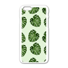 Leaf Pattern Seamless Background Apple Iphone 6/6s White Enamel Case