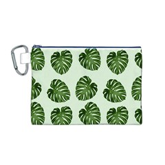 Leaf Pattern Seamless Background Canvas Cosmetic Bag (m)