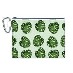 Leaf Pattern Seamless Background Canvas Cosmetic Bag (l)