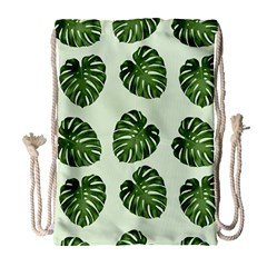 Leaf Pattern Seamless Background Drawstring Bag (large)