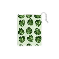 Leaf Pattern Seamless Background Drawstring Pouches (XS)