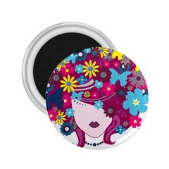 Beautiful Gothic Woman With Flowers And Butterflies Hair Clipart 2.25  Magnets