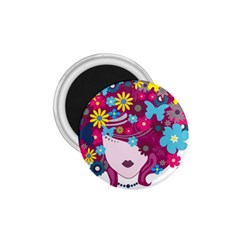 Beautiful Gothic Woman With Flowers And Butterflies Hair Clipart 1 75  Magnets