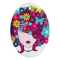 Beautiful Gothic Woman With Flowers And Butterflies Hair Clipart Ornament (oval)