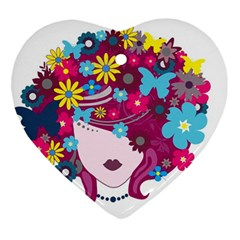 Beautiful Gothic Woman With Flowers And Butterflies Hair Clipart Ornament (Heart)