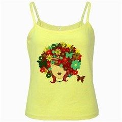 Beautiful Gothic Woman With Flowers And Butterflies Hair Clipart Yellow Spaghetti Tank