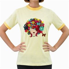 Beautiful Gothic Woman With Flowers And Butterflies Hair Clipart Women s Fitted Ringer T Shirts