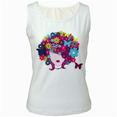 Beautiful Gothic Woman With Flowers And Butterflies Hair Clipart Women s White Tank Top