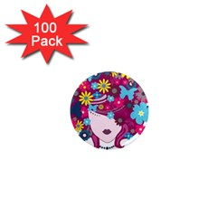Beautiful Gothic Woman With Flowers And Butterflies Hair Clipart 1  Mini Magnets (100 pack)