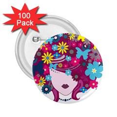 Beautiful Gothic Woman With Flowers And Butterflies Hair Clipart 2.25  Buttons (100 pack)