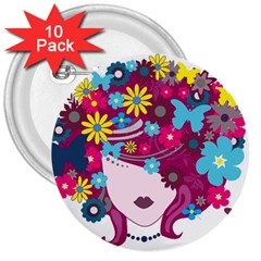 Beautiful Gothic Woman With Flowers And Butterflies Hair Clipart 3  Buttons (10 pack)