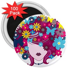 Beautiful Gothic Woman With Flowers And Butterflies Hair Clipart 3  Magnets (100 Pack)