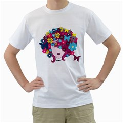 Beautiful Gothic Woman With Flowers And Butterflies Hair Clipart Men s T Shirt (white) (two Sided)