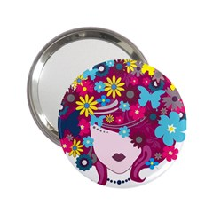 Beautiful Gothic Woman With Flowers And Butterflies Hair Clipart 2.25  Handbag Mirrors