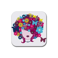 Beautiful Gothic Woman With Flowers And Butterflies Hair Clipart Rubber Coaster (Square)