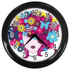 Beautiful Gothic Woman With Flowers And Butterflies Hair Clipart Wall Clocks (Black)