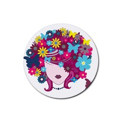 Beautiful Gothic Woman With Flowers And Butterflies Hair Clipart Rubber Coaster (Round)