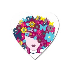 Beautiful Gothic Woman With Flowers And Butterflies Hair Clipart Heart Magnet
