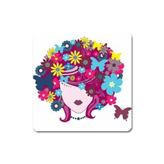 Beautiful Gothic Woman With Flowers And Butterflies Hair Clipart Square Magnet