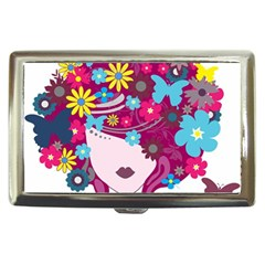 Beautiful Gothic Woman With Flowers And Butterflies Hair Clipart Cigarette Money Cases