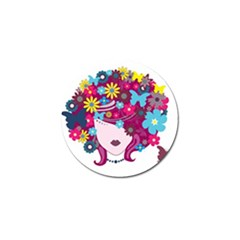 Beautiful Gothic Woman With Flowers And Butterflies Hair Clipart Golf Ball Marker