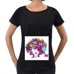 Beautiful Gothic Woman With Flowers And Butterflies Hair Clipart Women s Loose Fit T Shirt (black)