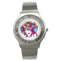 Beautiful Gothic Woman With Flowers And Butterflies Hair Clipart Stainless Steel Watch