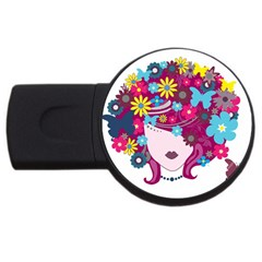 Beautiful Gothic Woman With Flowers And Butterflies Hair Clipart Usb Flash Drive Round (4 Gb)